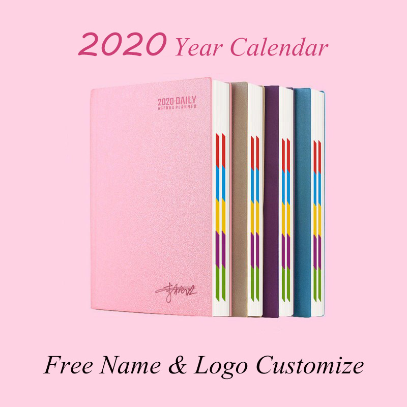 Logo Customize Hardcover 2020 Year A5 Calendar Notebook A6 Agenda Book Daily PU Leather Office School Journal Diary Planner