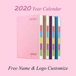 Logo dostosuj twardą okładkę 2020 rok A5 kalendarz notatnik A6 Agenda książka codzienna PU skóra biuro szkoła dziennik terminarz planer