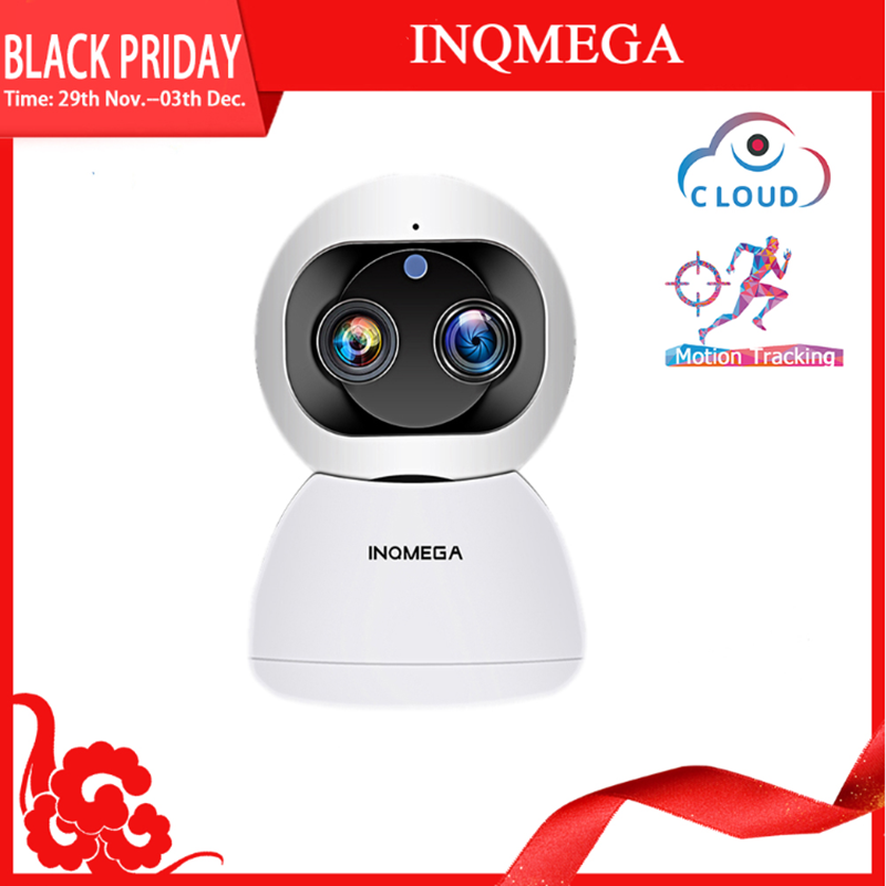 INQMEGA 1080P Dual-Lens Wireless Wifi Camera 2MP Cloud Auto Tracking IP Camera Indoor Home Security Surveillance CCTV Network Ca