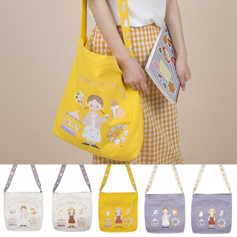 Women's Canvas Shopping Bag Cartoon Print Female Cotton Cloth Shoulder Bag Eco Handbag Tote Reusable Grocery Shopper Bags bolsos