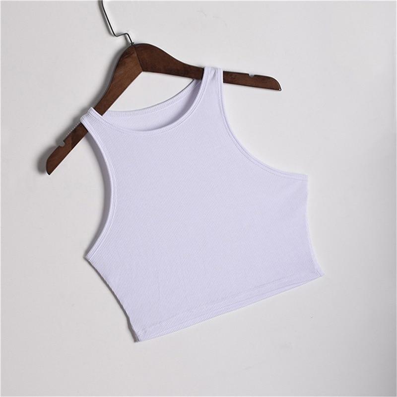 Summer Slim Render Short Tank Tops Sexy Women Sleeveless O Croptops Solid Black/White - tops-tees