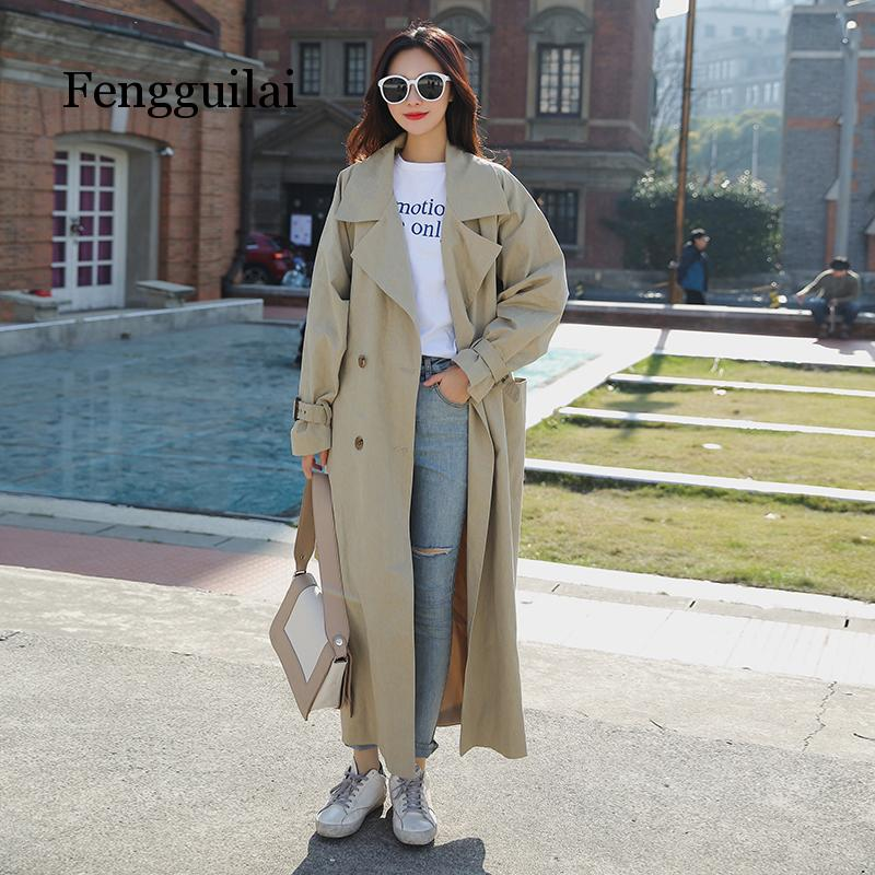 women fashion holiday comfortable loose   trench   coat professional OL temperament solid girls warm outdoor long   trench