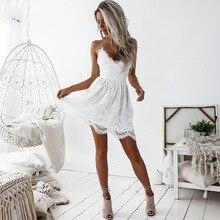 Сексуальные платья, женские кружевные короткие мини бандажные платья с открытой спиной, Клубные вечерние летние пляжные платья 2020 с v-образ...