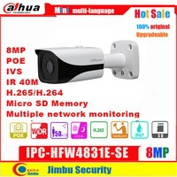 Dahua IP Camera 8MP POE IPC HFW4831E SE H.265 WDR IR40m Mini Bullet CCTV Camera IP67 Micro SD Memory original English version 4K
