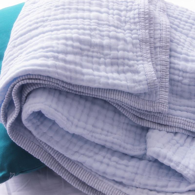 6 Strati Piega Garza di Cotone Coperta di Cotone 100% di Luce di Colore Blu 180X230 Cm 1 Pezzi in Vendita