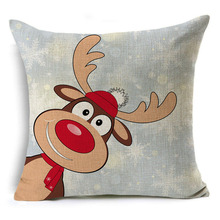 Christmas Series Flax Pillow Elk Pillow Cover Hot Selling Cushion Cover Pillow Case цена 2017