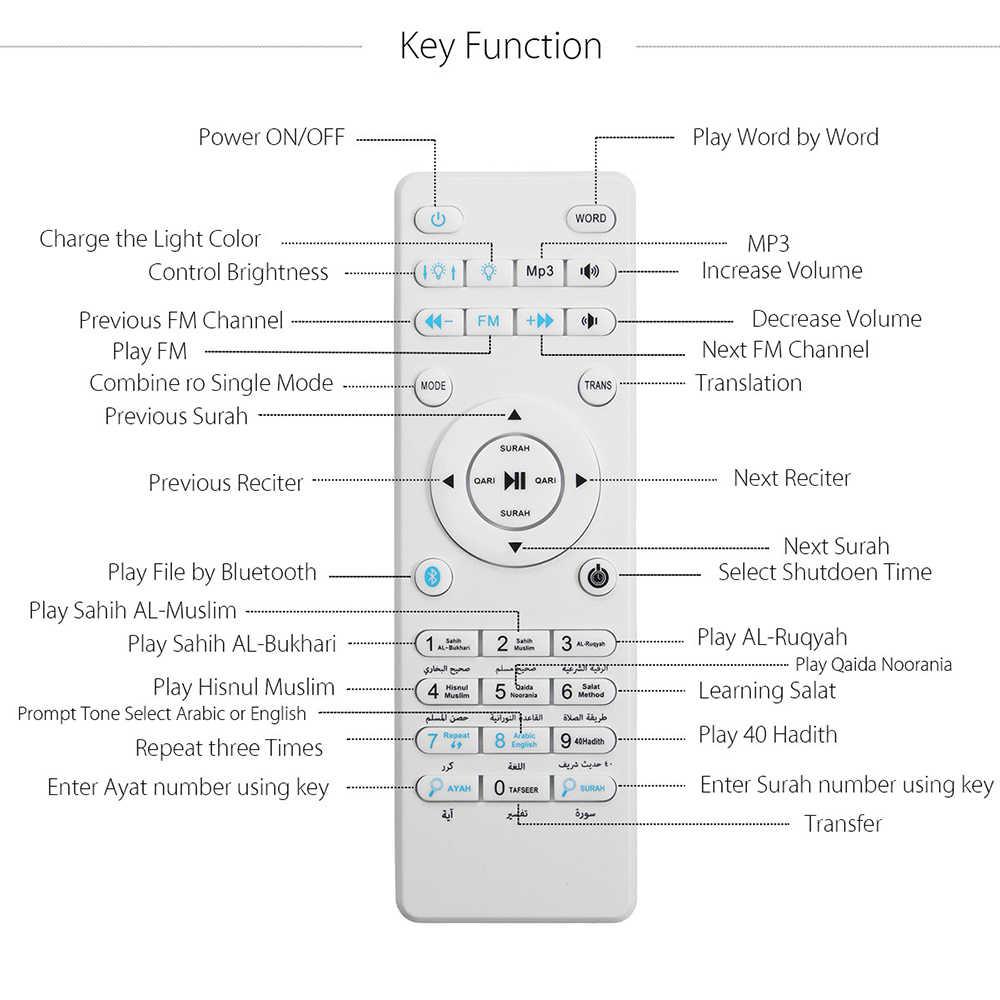 Quran, сенсорный светильник, беспроводной Bluetooth динамик, дистанционное управление, цветной светодиодный ночник, мусульманский Коран, диктор, FM, TF, MP3, музыкальный плеер