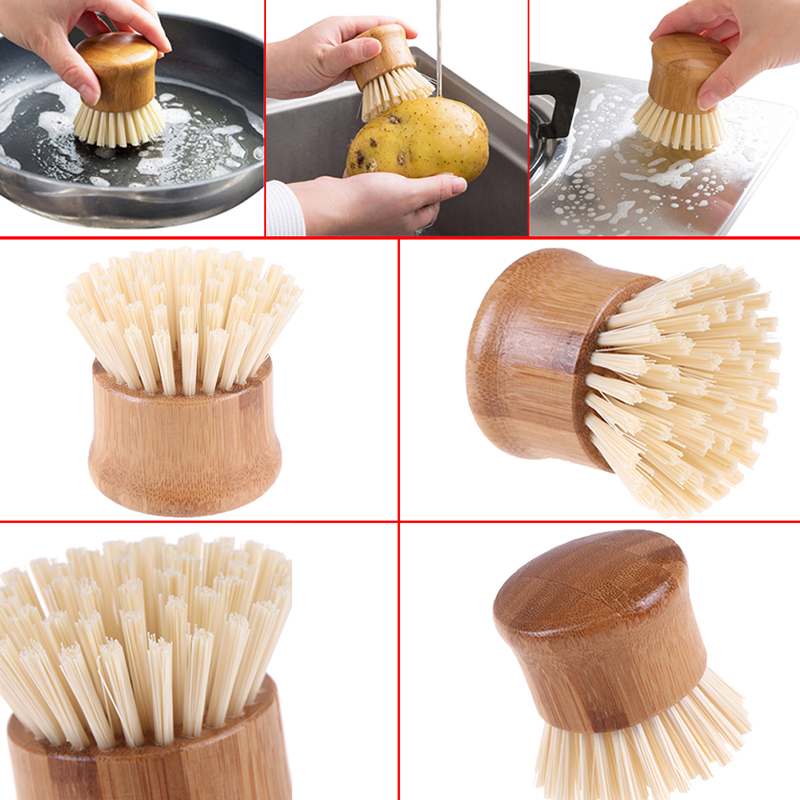 Brush Household Kitchen Cleaning Tools Kitchen Creative Bamboo Handle Cleaning Brush Scourer Pan Dish Bowl Pot