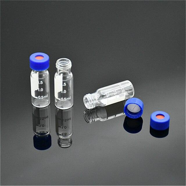 Trong suốt Sắc Ký Lọ 1.5ml Cho Ampe Polypropylene Mở Nắp Trắng PTFE/Đỏ Silicone Septa (Phá) 9mm 100/PK