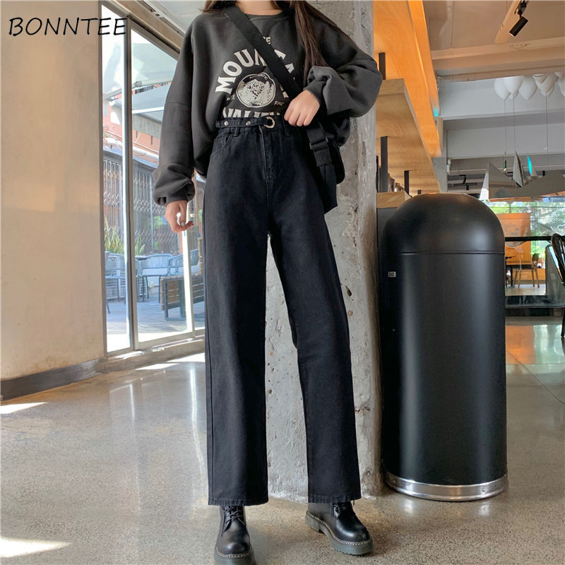 Jeans Women Plus Velvet All-match Harajuku Casual Adjustable High Waist Loose Chic Vintage Womens Trousers Leisure Simple Retro