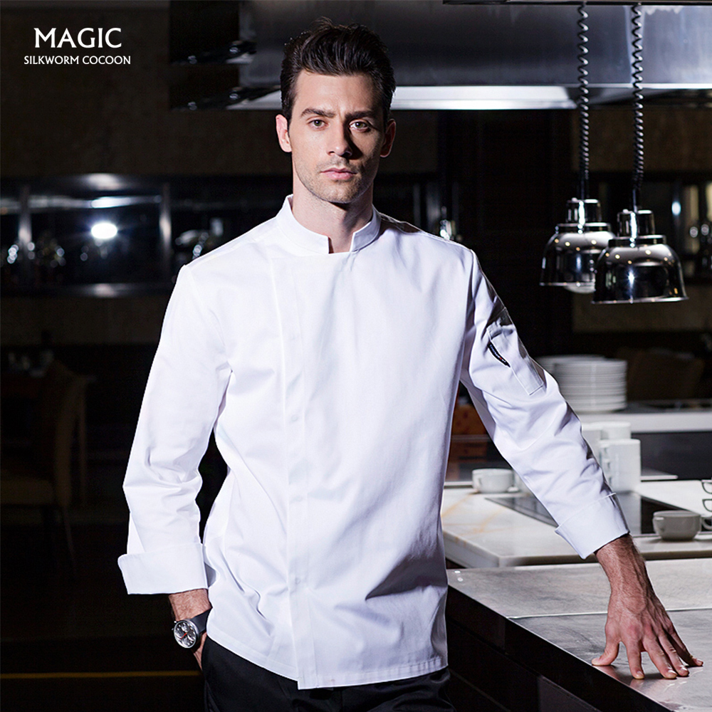 Hotel Catering Waiter Coat Work Long Sleeve Chef Restaurant Uniform Chef Coat Breathable Restaurant Chef Cook Jacket Uniforms