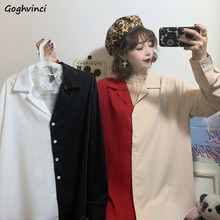 Blusen Frauen Patchwork drehen-unten Kragen Langarm Einfache Chic Elegante Frauen Shirts Retro Koreanischen Stil Casual Alle-spiel Schlank