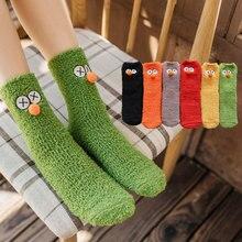 Новые носки из кораллового флиса с большими глазами толстые носки без пятки с рисунком забавные Женские носочки домашние носки ворсовые Носки теплые зимние носки
