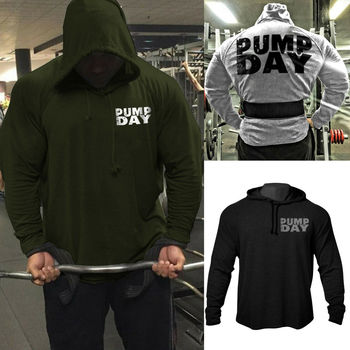Mens GYM Fitness Back Printing Bodybuilding Workout Raglan Hoodies Sweatshirts High Quality Hem-Cut Tracksuit Top Free Shipping