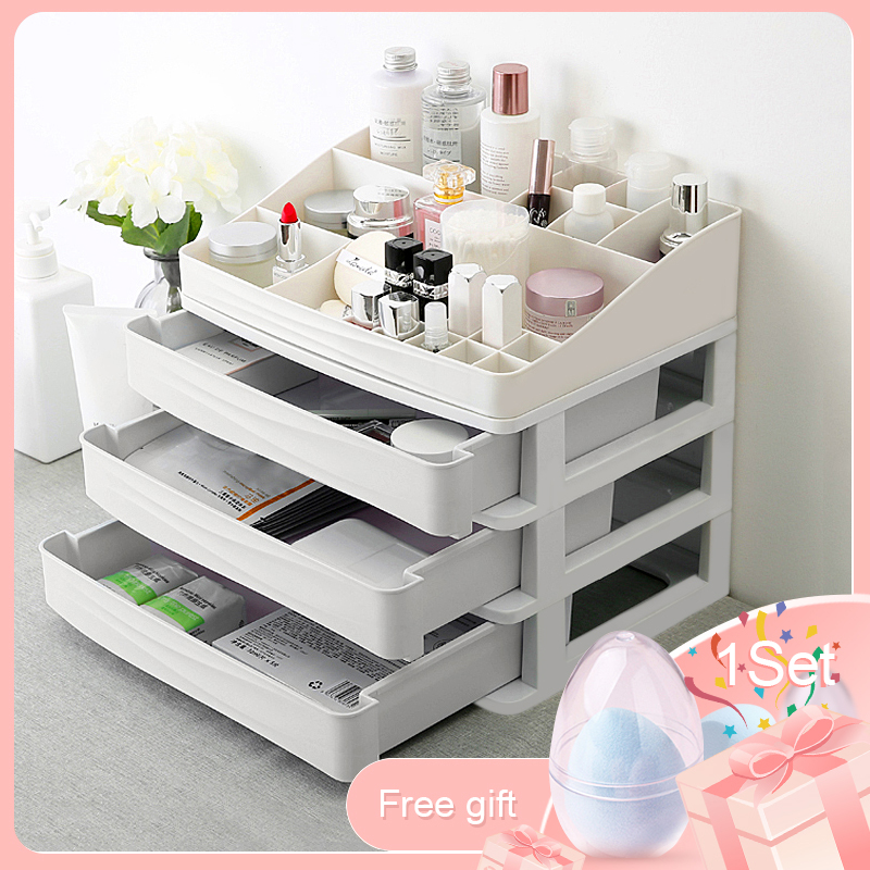Plastic Cosmetic Drawer Makeup Organizer Jewelry Container Storage Box DIY Multi-layer Nail Casket Holder Bathroom Desktop Case