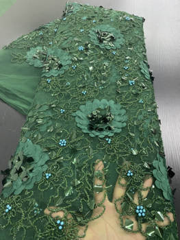 African French 3D Tulle Lace Fabric 2020 High Quality Lace With Sequins Nigerian Lace Fabrics For Wedding Dress Sewing YA2640B 4meters 4cm eco friendly sequins lace trims 3d gold silver lace ribbons for stage dance dress belt sewing accessories