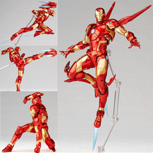 лучшая цена 17 CM Marvel Iron Man Avengers Amazing Yamaguchi Revoltech No 013 Iron Man MK37 Bleeding Edge Armor Action Figure Toys