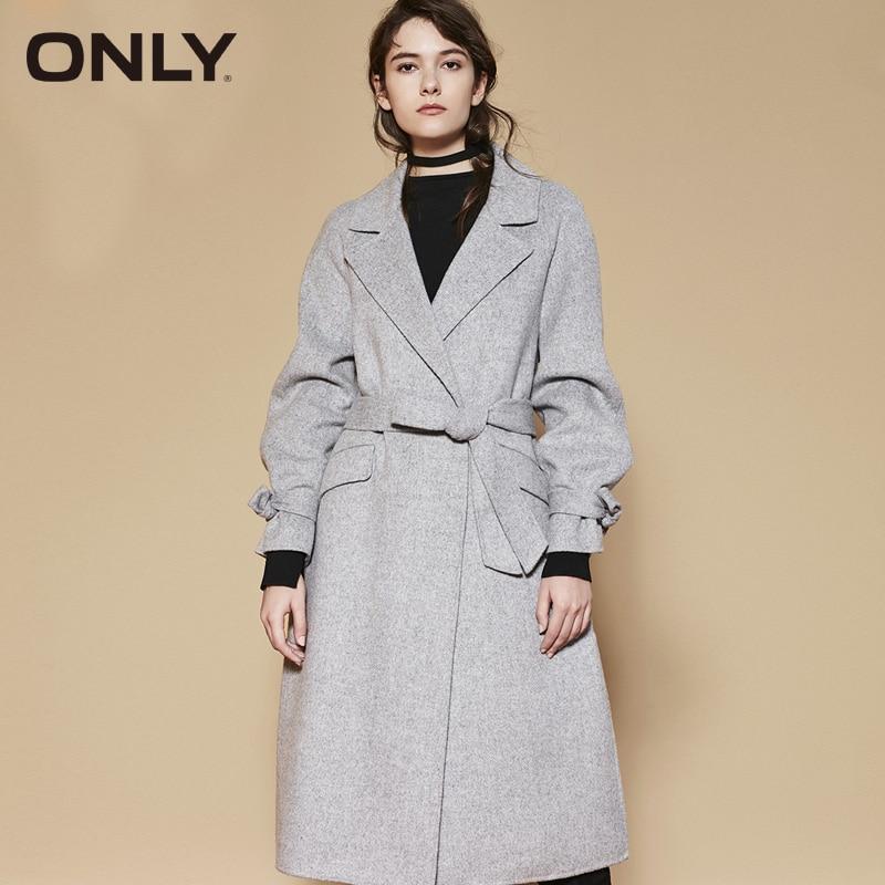 ONLY Spring Women Long Lapel Collar Wool Coat | 11836U507