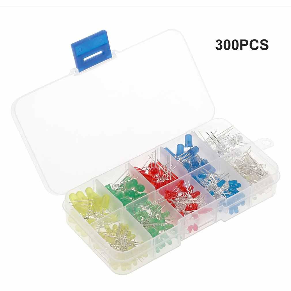 Kit de variedade de leds e resistores de 3mm, led, difusor, diodo, luzes indicadoras de diodo, 300 peças