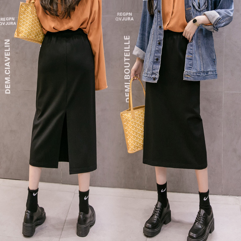 2020 Spring High Waist Mid Long Skirt Women Slit Back Package Hip Skirt For Women Slim Black Elastic Waist Pencil Skirt Summer