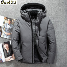 Boolili 2020 Top Quality Winter Duck Down Jacket Men Fur Collar Jacket Men Thick Warm Mens White Duck Down Coat cheap Loose Casual zipper Full Button Pockets Zippers Thick (Winter) Broadcloth Polyester NONE 150g-200g Solid REGULAR