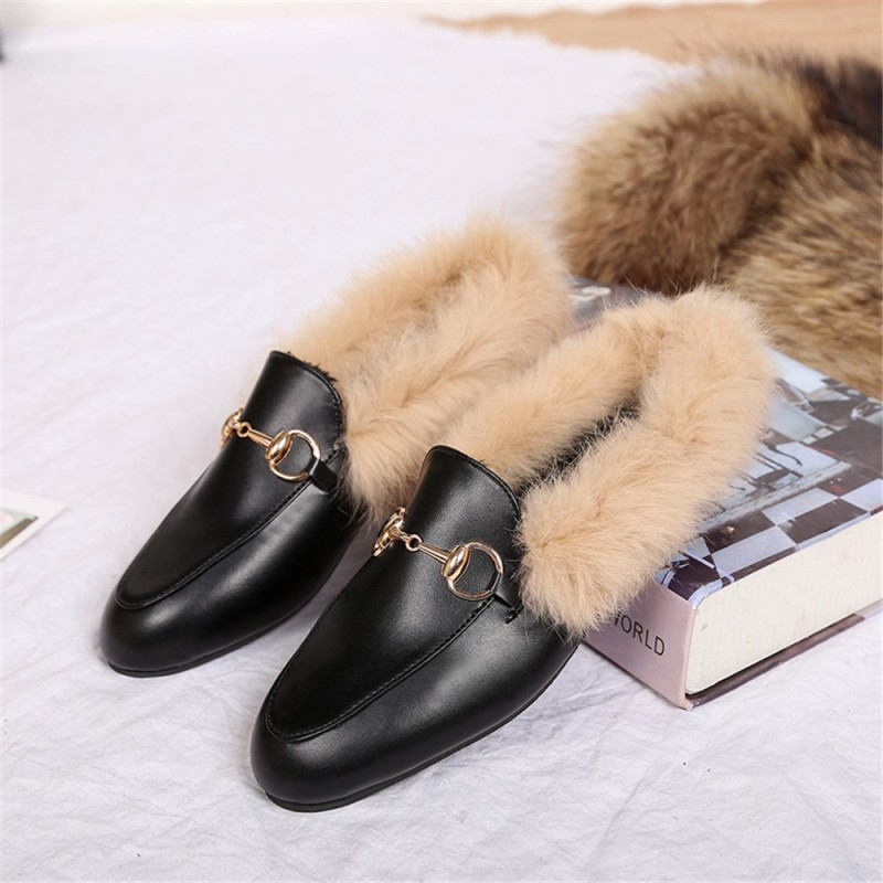 New style flat bottom fashion metal accessories heating cotton shoes antiskid wool shoes antiskid warm shoes fashion shoes on AliExpress