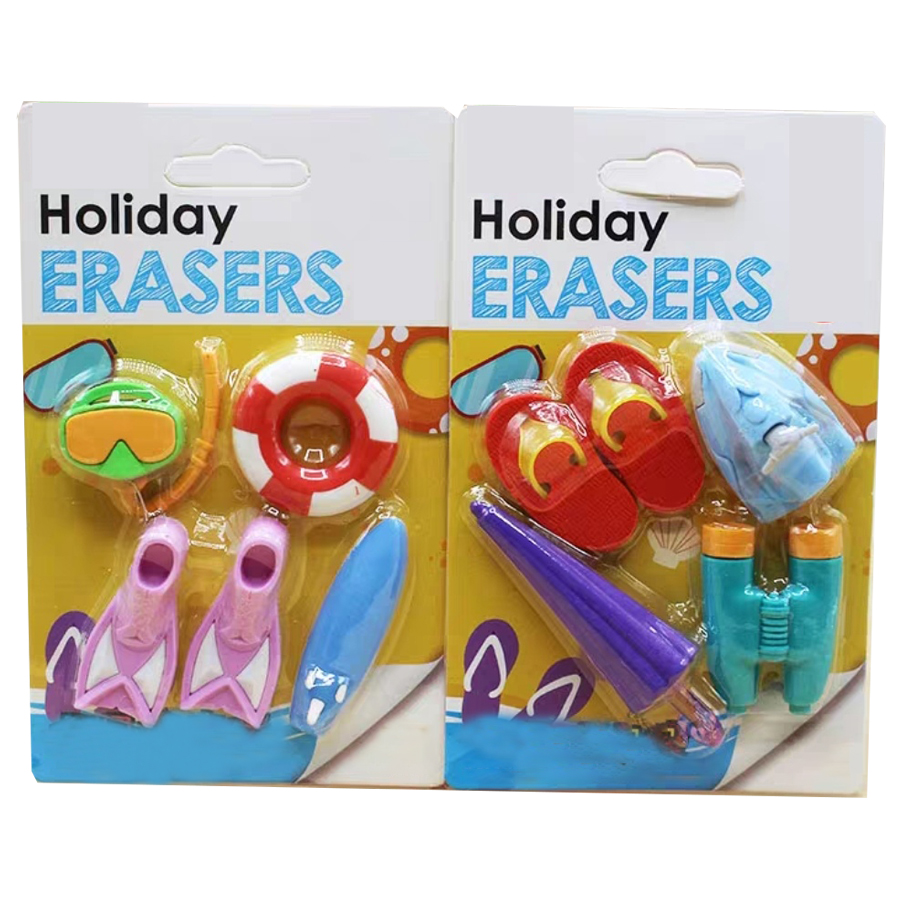 Korean Design Diving Tools Students Rubber Eraser Umbrella Slipper Telescope Shaped School Supplies Stationery Eraser 10 Pcs/Lot