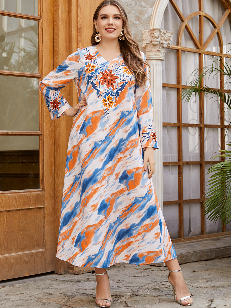 KNOW DREAM21650 Women's National Style Embroidery Long Sleeve Elegant Casual Muslim Dress 6