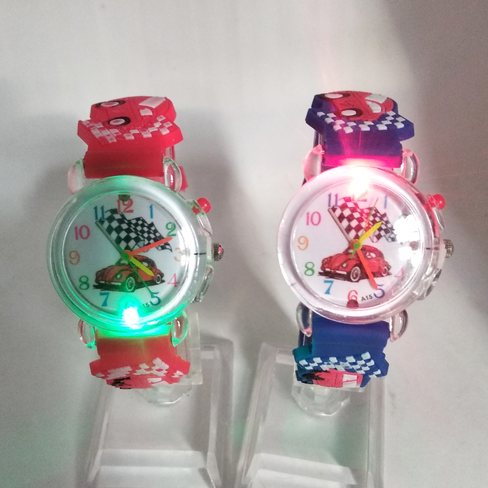 LED Flash Glow Black Car Children Watches Electronic Light Source Child Watch Kids Boys Girls Birthday Party Gift Student Clock