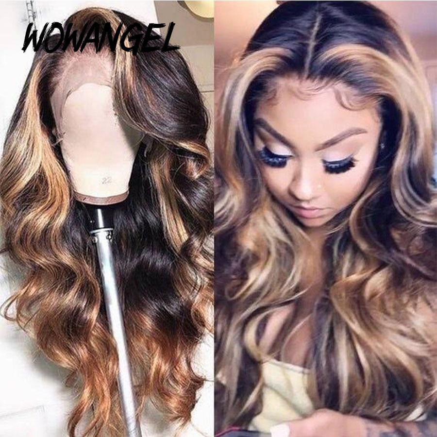 WOWANGEL 13x6 Deep Part Lace Front Human Hair Wigs 180% Density Brazilian Remy Wavy Human Hair Pre-Plucked Hairline