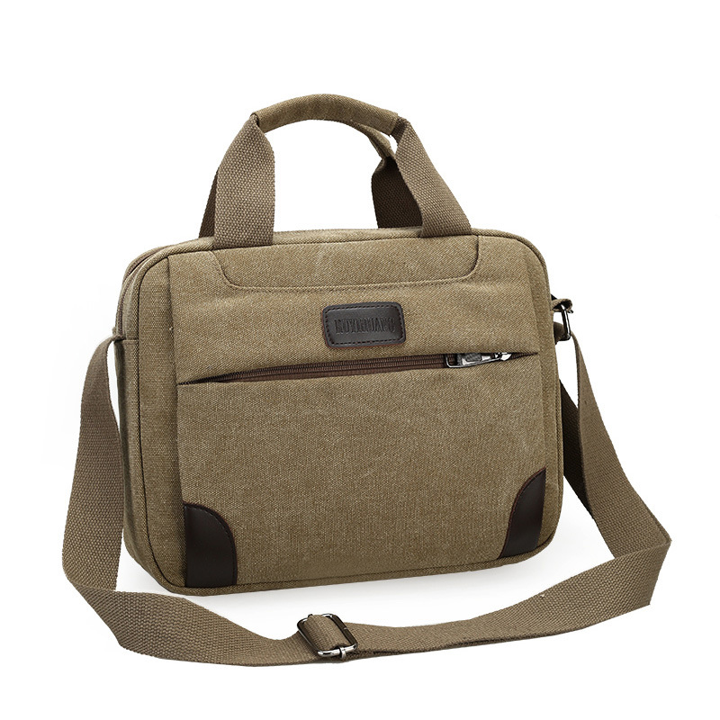 2019 New Vintage Canvas Men Briefcase Casual Solid Man Handbag Zipper Leisure Shoulder Travel Bags Brand Large Retro Tote Male