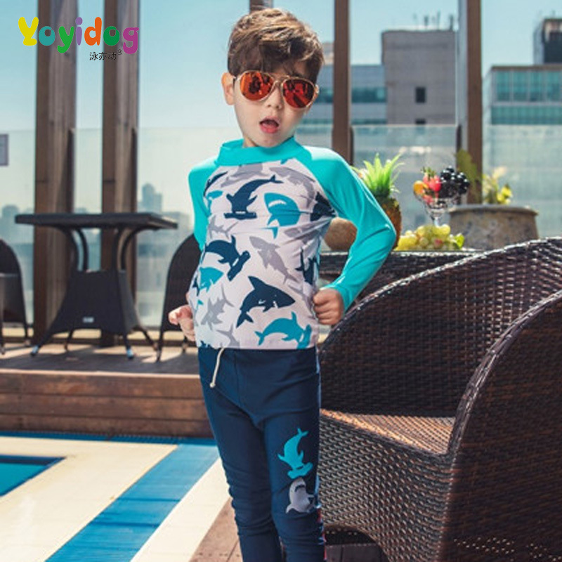 18 New Style Hot Sales Two-piece Swimsuits Long Sleeve Trousers Small Stand Collar Cartoon Handsome Sun-resistant Children BOY'S