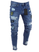 Мужчины% 27 рваные джинсы значок буквы хип-хоп скинни бег деним +мода карандаш длинные брюки рваные джинсы для мужчин одежда