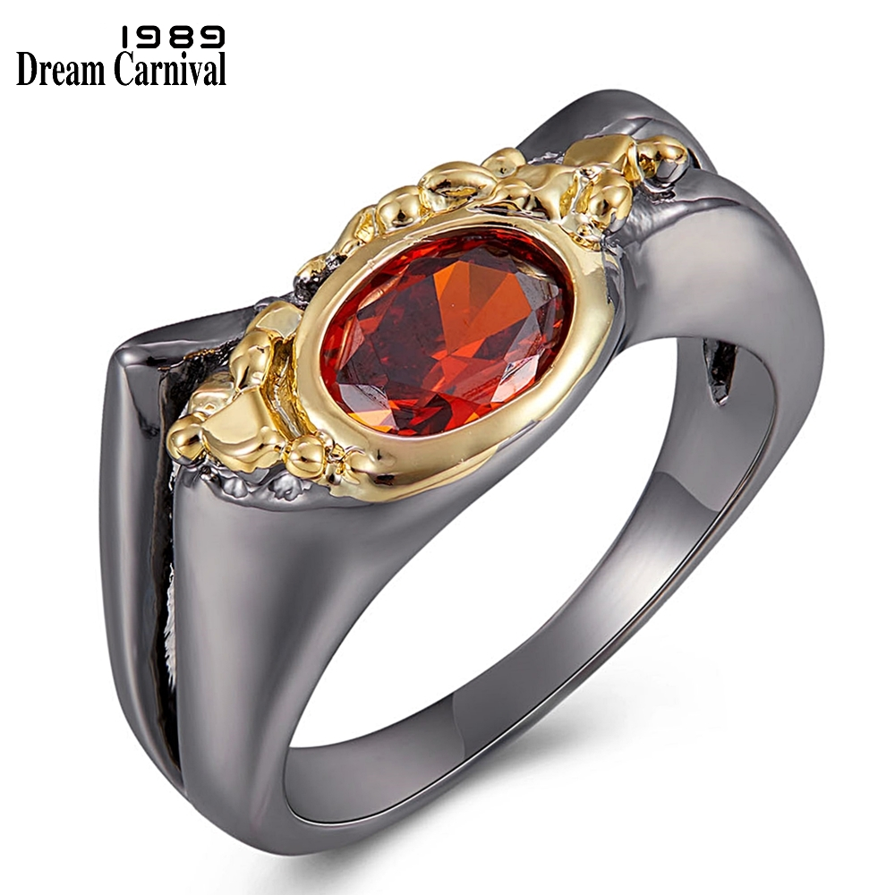 WA11788 DreamCarnival New Arrive Geometric Red Cubic Zircon Ring for Women Black-Gold Color Wedding Engagement Party Accessories (1)