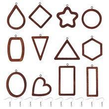 12Pcs Wood Open Bezel UV Resin Blank Frame Charms Pendants With DIY Earrings Hook Link Necklace Jewelry Making
