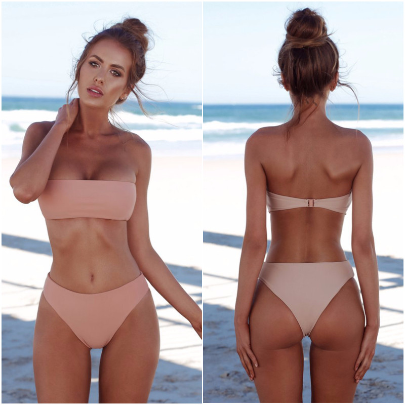 New Brand 2019 Sexy Bikini Set Women Swimsuit Solid Bikini Backless Swimwear Low Waist Bathing Suit Female Brazilian Biquini