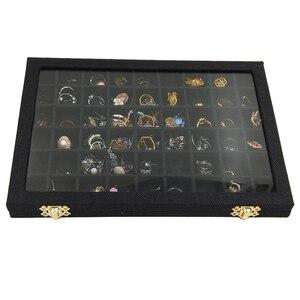 Image 3 - สายกล่อง 54 กริดแก้วใสฝาปิดต่างหูแหวนเครื่องประดับถาดตู้โชว์จัดเก็บ 31x22x2.8cm