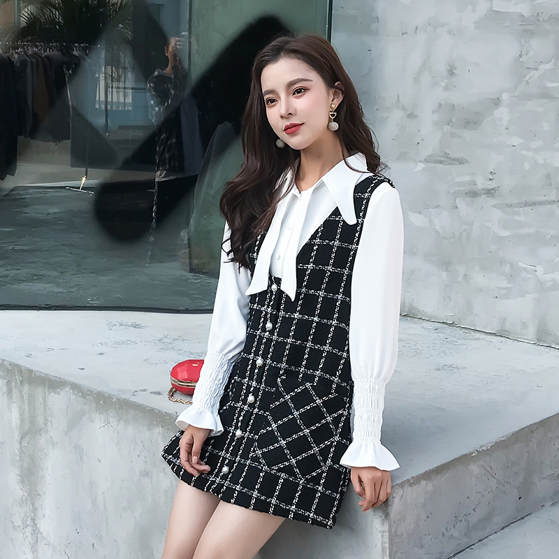 Fashion Elegant Two Piece Set 2019 Autumn Women Long Sleeve White Shirt + Tweed Plaid Vest Dress Suits Mini Sweet Vestidos