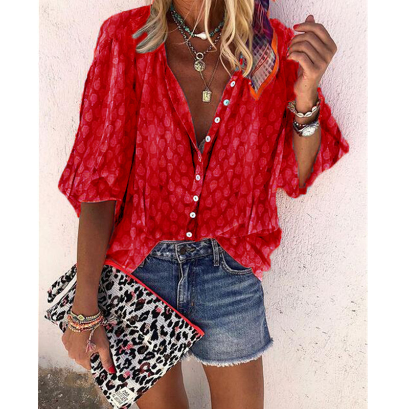 Plus Size Women's Puff Sleeves Blouse New style Printed Single Button Blouse women shirt Casual tops blusas mujer de moda