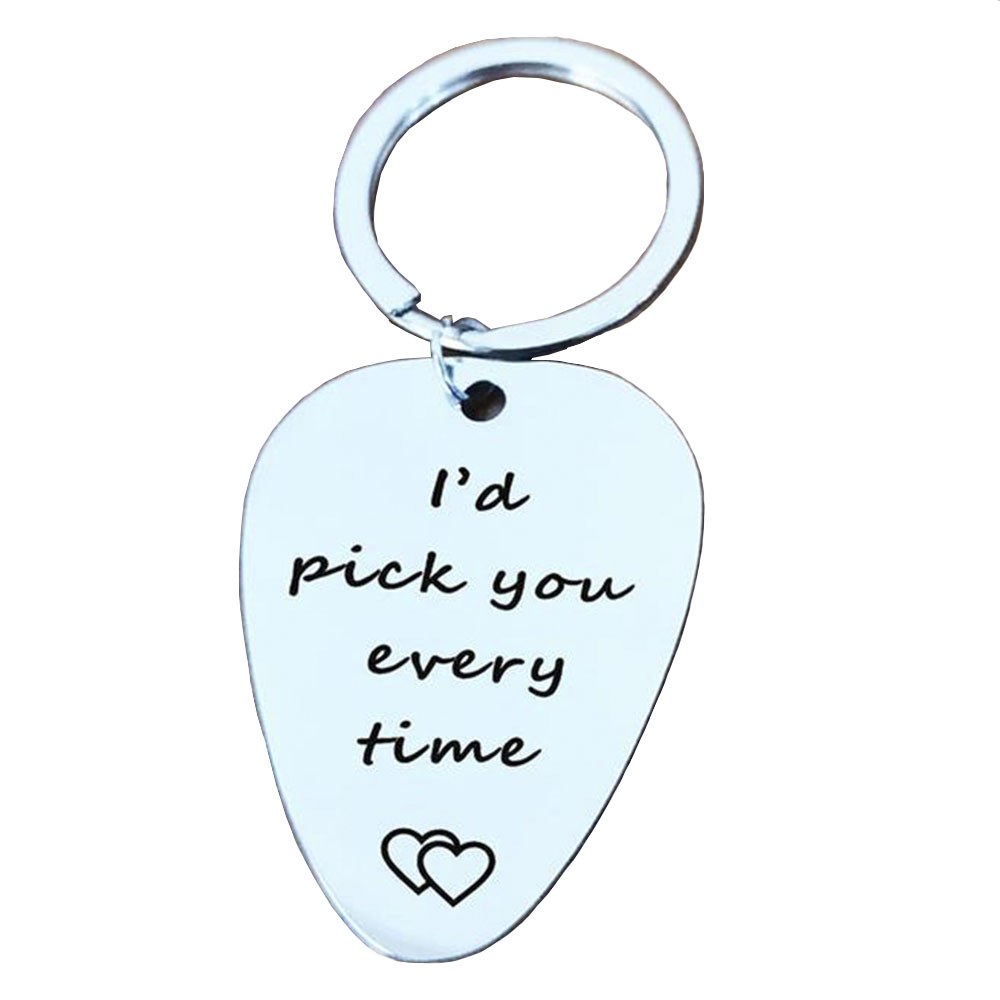 Personalized Keychain Guitar Pick Key RingGift Party Chain Hook for Dad Husband Boyfriend Birthday I 'd Pik You Every Time