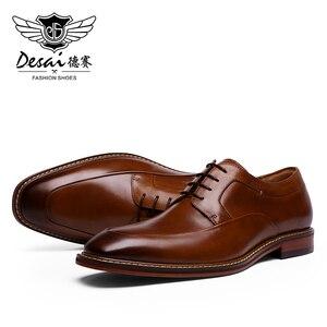 Image 3 - Мужские высокие кроссовки до щиколотки DESAI, Повседневная Свадебная обувь из натуральной кожи, 2019