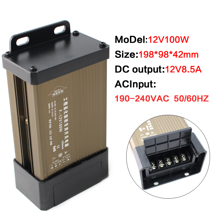 Source 12V 500W Smps Meanwell Power Supply 5V 12V 24V 100W 200W 300W 400W 500W 220V To 5V 12V 24V Power Supply Outdoor Rainproof image