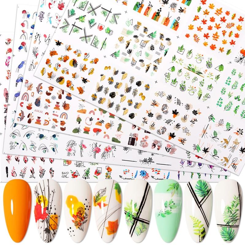 12 Дизайнов простых водных переводных картинок для ногтей с зелеными листьями и цветами Harunouta Геометрические линии водяные знаки Декоративн...