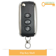 KEYECU Flip Folding Remote Auto Car Key Shell Case Cover for Bentley Mulsanne Hurtling GT Flying Spur C*ontinental, Fob 3 Button(China)