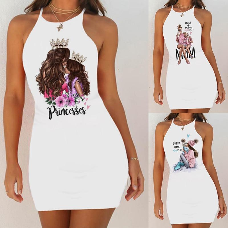 Super Mom Print Slim Pack Hip Sleeveless   Sleepshirts   Night Dress Women Sexy   Nightgown   Cute Night Shirts Nightie Sleepwear 2020