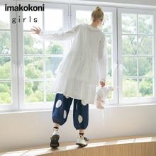 imakokoni white embroidered double layer dress original design wild simple autumn new female 203049