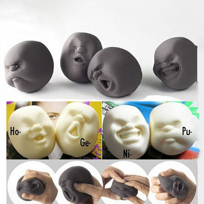Novelty Resin Funny Gags Practical Jokes Vent Human Face Anti Stress Ball Halloween Scented Squeeze Toy Geek Reliever Squeeze