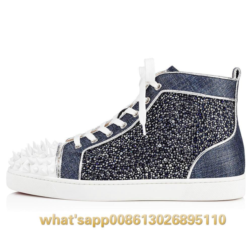 2019 Низкие Красные туфли; мужская обувь на плоской подошве; повседневная мужская обувь с шипами, украшенная разноцветными кристаллами и сере... - 2