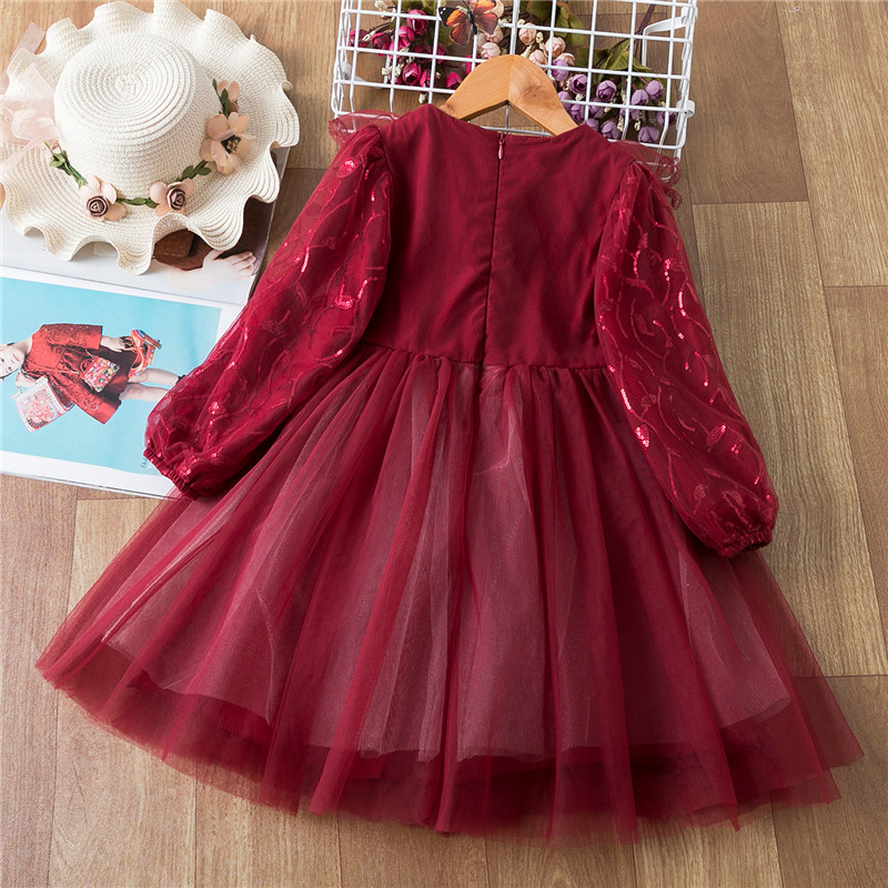 Sequined Flower Girls Christmas Dress Elegant Children Red New Year Costume Kids dresses for Girls Birthday Party Dress Vestidos 2
