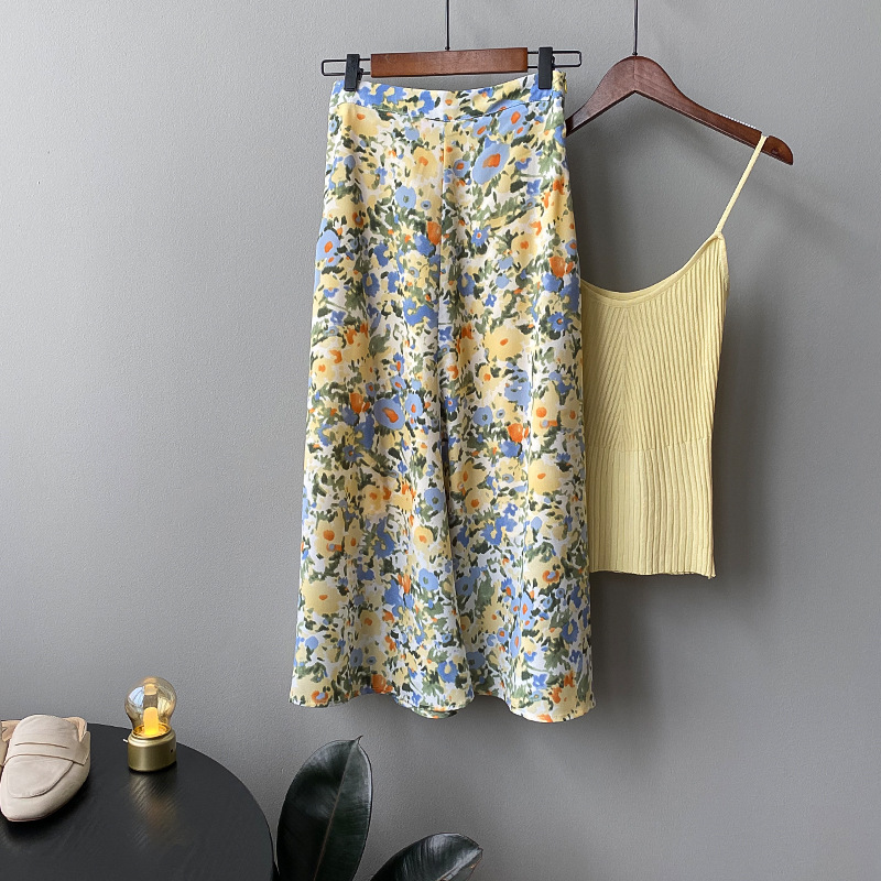 2020 High Waist Women A-line Skirt Saia Flower Print Women Boho Summer Long Skirt Faldas Jupe Femme Women Skirts
